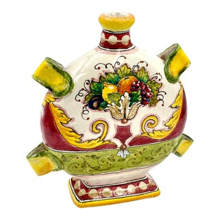 Italian Hand-Painted Ceramic Flat Rounded Bottle With Fruit For Sale
