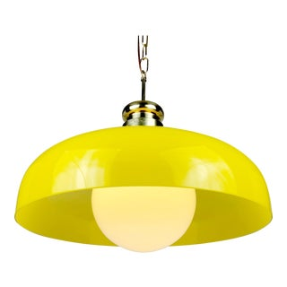 Mid Century Yellow Glass Domed Pendant Light