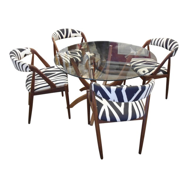 Danish Modern Glass Table & 4 Chairs - Image 1 of 8