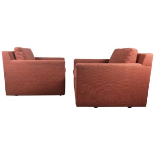 Stunning Cube Lounge Chairs Attributed to Milo Baughman - A Pair For Sale