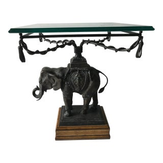 French Sculptural Bronze Elephant Side Table For Sale