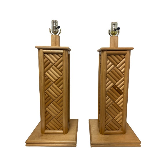Wood Vintage 1970's Bamboo Table Lamps - a Pair For Sale - Image 7 of 7