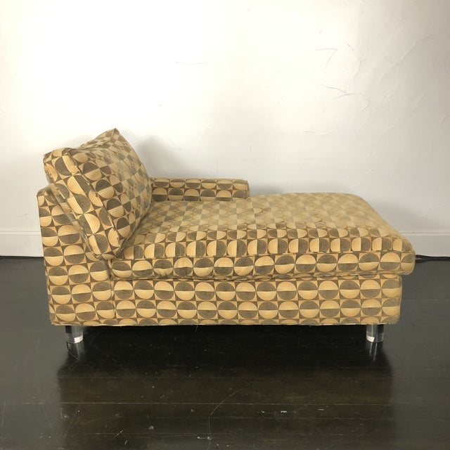 Cool vintage Chaise Lounge with Lucite Legs... extremely comfortable and great for reading! Back pillow is filled with...