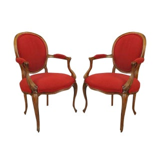 Baker Red French Country Arm Chairs- a Pair