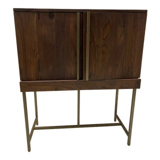 Mid Century Modern Walnut and Brass Bar Cabinet For Sale