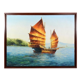 """Original 60s Oil Painting of a Chinese """"Junk"""" For Sale"""