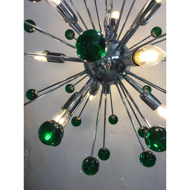 Emerald Green Murano Glass Chandelier in Sputnik Style With a Chrome Base For Sale - Image 9 of 11