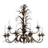 Image of Large-Scaled Italian, 1960s Two-Tier Twelve-Light Gilt-Tole Foliate Chandelier For Sale