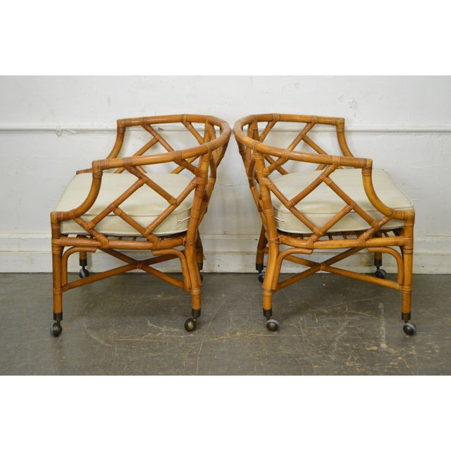 Traditional McGuire Style Rattan Bamboo Barrel Back Club Chairs - a Pair For Sale - Image 3 of 13