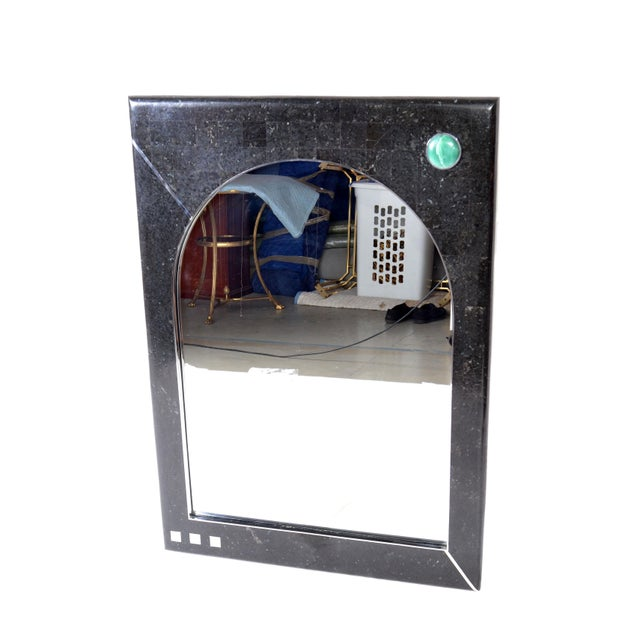 Italian Oggetti Tessellated Stone Mirror with Chrome For Sale - Image 3 of 9