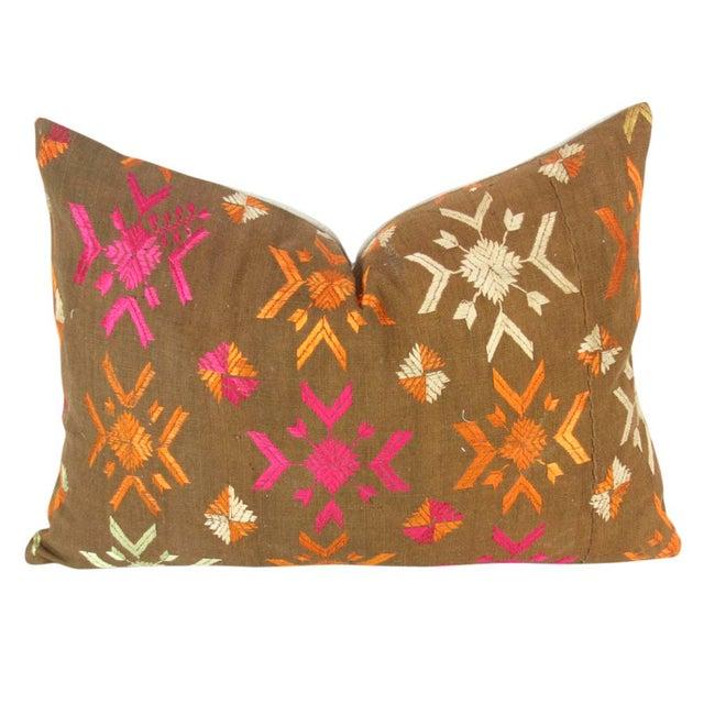 Vintage Lumbar Bagh Phulkari Pillow - Image 2 of 4