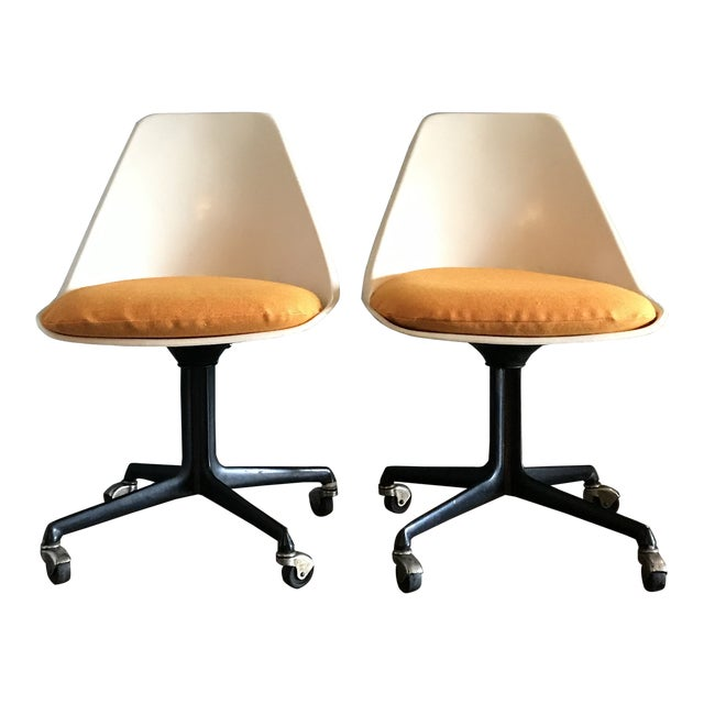Mid Century Fiberglass Tulip Chairs on Casters by Burke- A Pair For Sale