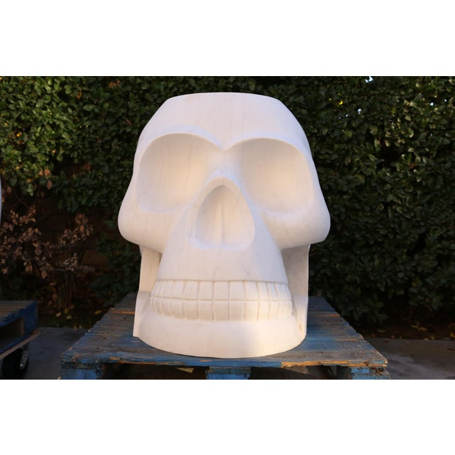 Custom Designer's Solid Carrara Marble Skull Sculptures - a Pair - Image 3 of 11