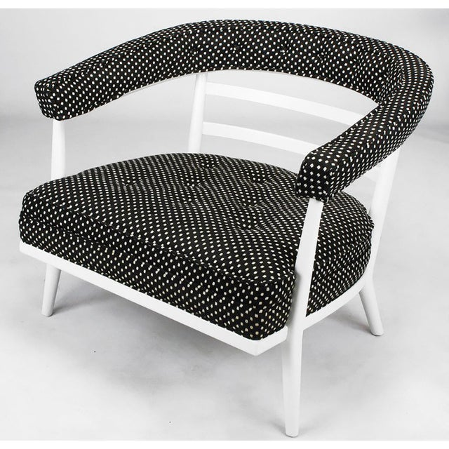 Mid-Century Modern Four Bert England White Lacquer & Black Polka Dot Lounge Chairs For Sale - Image 3 of 9