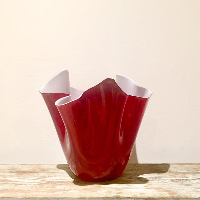 Glass Large Red Venini Hankkerchief Vase, Italy For Sale - Image 7 of 7