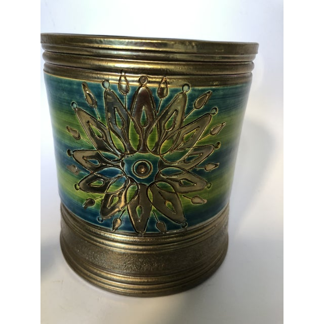 Green Rosenthal Netter Bitossi Blue and Green Jar For Sale - Image 8 of 10
