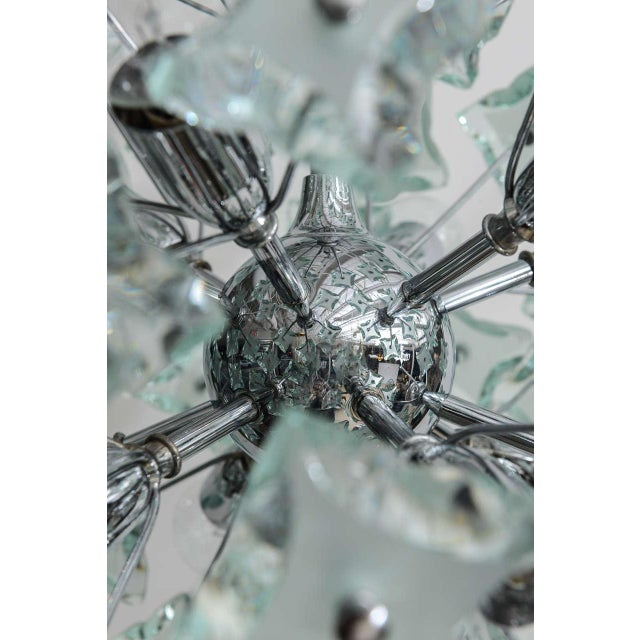 Fontana Arte 1960's Italian Green Glass Sputnik Chandelier For Sale - Image 4 of 8