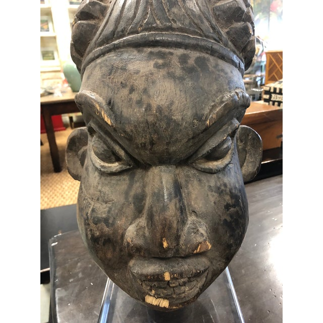 Vintage Mid-Century Decorative Head African Sculpture For Sale - Image 4 of 8