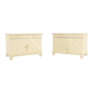 Mid-Century Modern White Textured Paint Nightstands - a Pair For Sale