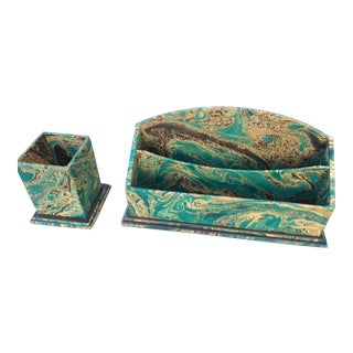 Italian Hand-Marbled Letter Holder & Pencil Cup Set For Sale