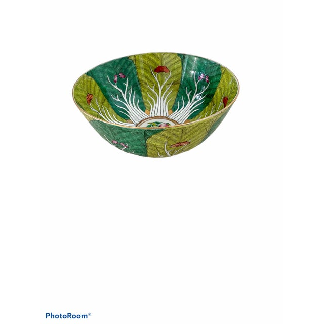 Vibrant Green Porcelain Bowl With Butterflies For Sale - Image 10 of 10