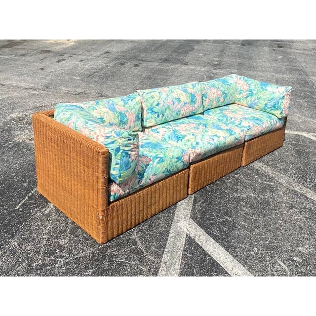 Vintage Coastal Woven Rattan Printed Sectional For Sale - Image 10 of 13