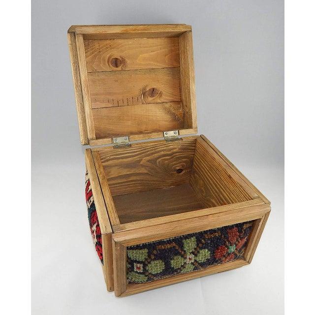 8e44e3082 1990s Vintage Kilim Chest, Handmade Wooden Unique Box, Gifts For Women,  Jewellery Box