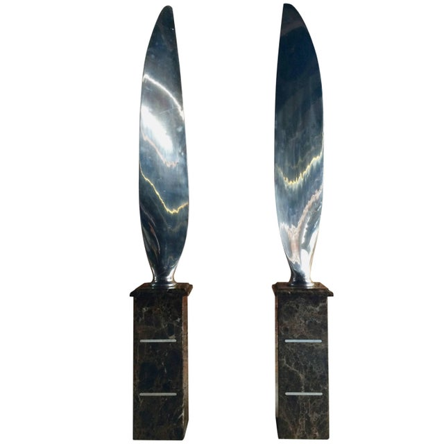 Tall Polished Chrome Airplane Propeller Blades Sculptures - A Pair For Sale - Image 11 of 11