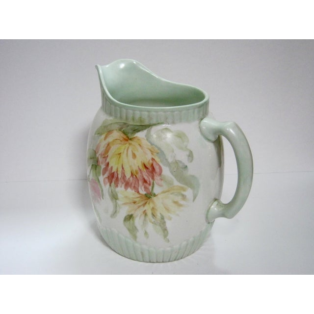 Antique Hand Painted Floral Pitcher For Sale - Image 5 of 7