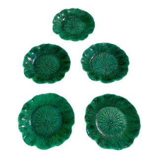 1940s Vintage Handmade Majolica Deep/Bright Green Lotus Leaf Pattern Plates by Newell Stevens - Set of Five For Sale