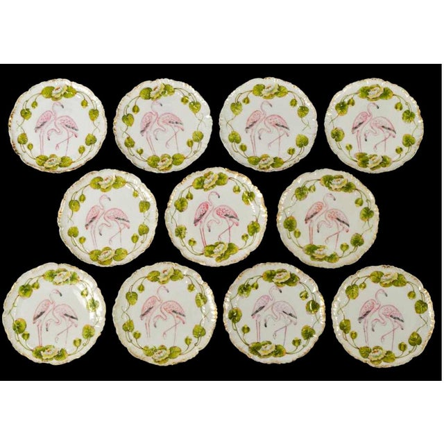 Green Set of 11 Antique German Flamingo Plates For Sale - Image 8 of 8