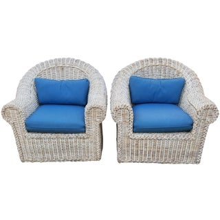 1980's Vintage Woven Rattan Modern Classic Sculptural Arm Chairs - a Pair