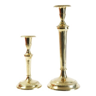 Scalloped Brass Candle Holders - A Pair For Sale