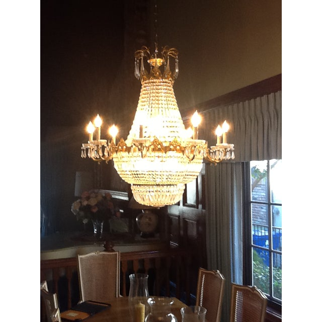 Empire Late 1970's Empire Style Gold Toned & Crystal Chandelier For Sale - Image 3 of 11