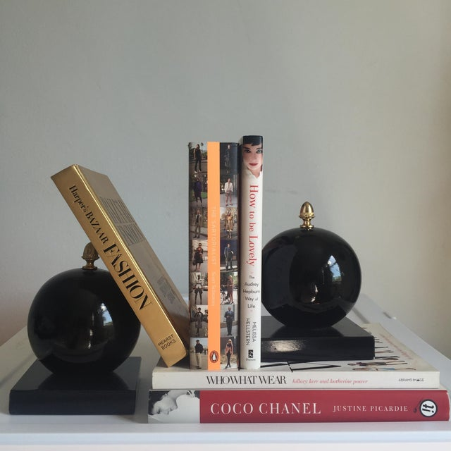 Mid-Century Modern Vintage Alabaster Sphere Bookends - a Pair For Sale - Image 3 of 7