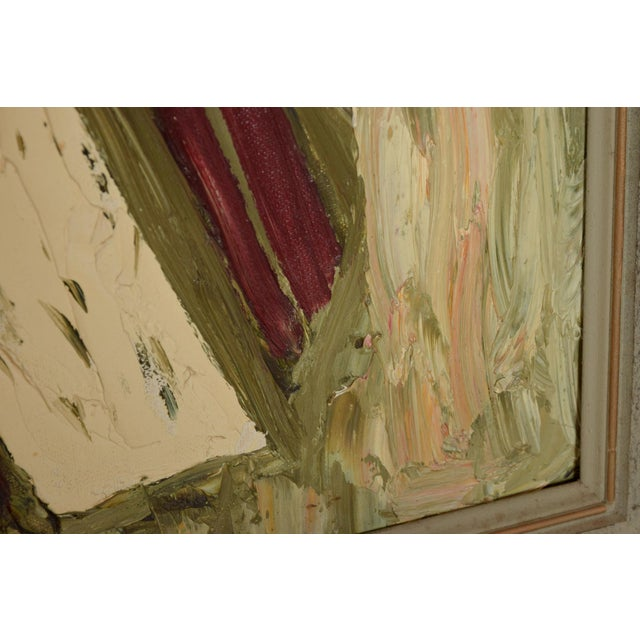 Canvas Midcentury Modern Abstract Oil on Canvas Board Velma Blume 1968 For Sale - Image 7 of 9