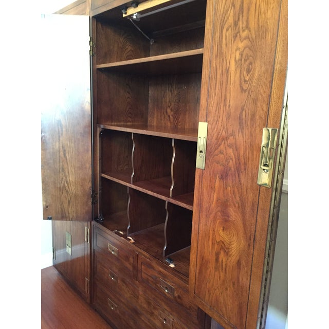 Henredon Campaign Style Henredon Pecan Double Armoire With Brass Pulls For Sale - Image 4 of 10