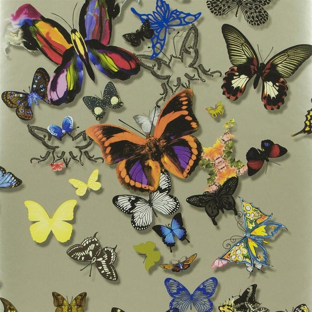 English Christian Lacroix Butterfly Parade Multicolored Wallpaper Sample For Sale - Image 3 of 4