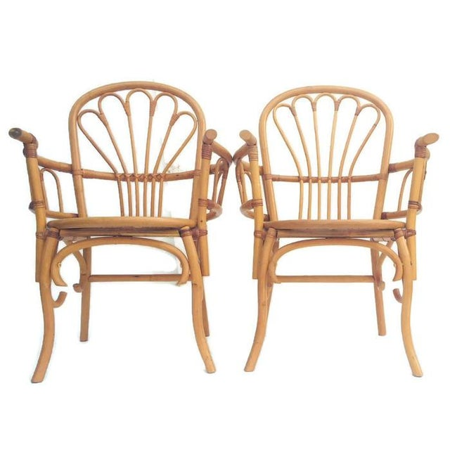 Franco Albini 1980s Vintage Bent Bamboo Arm Chairs - a Pair For Sale - Image 4 of 13