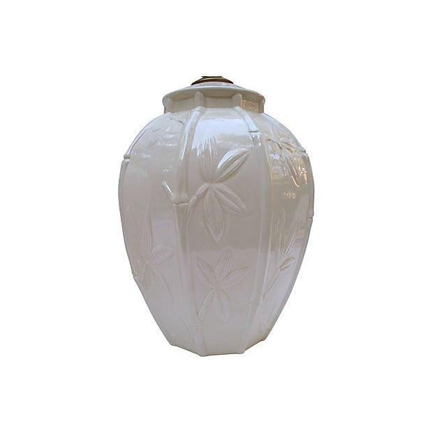 White Ceramic Bamboo Design Lamps - A Pair - Image 5 of 6