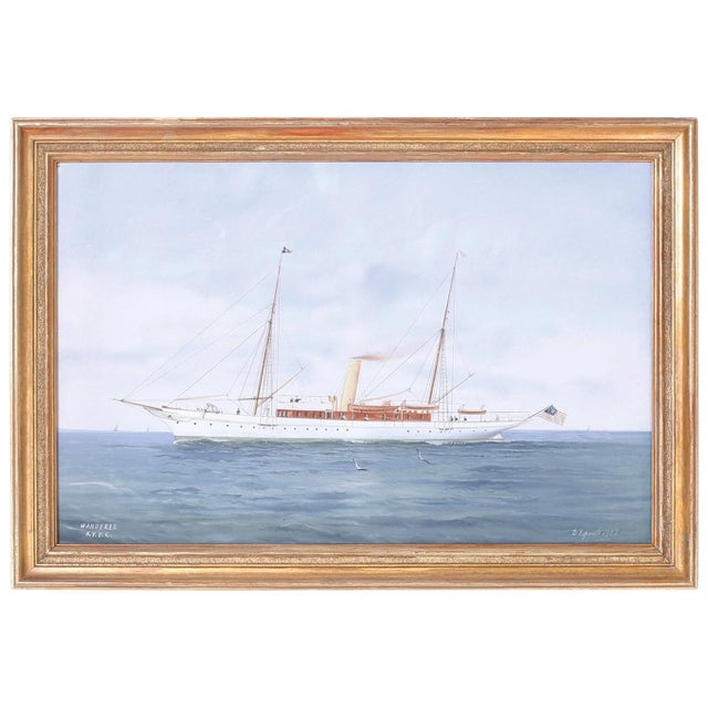 Blue Gouache Painting on Paper of a Yacht For Sale - Image 8 of 8