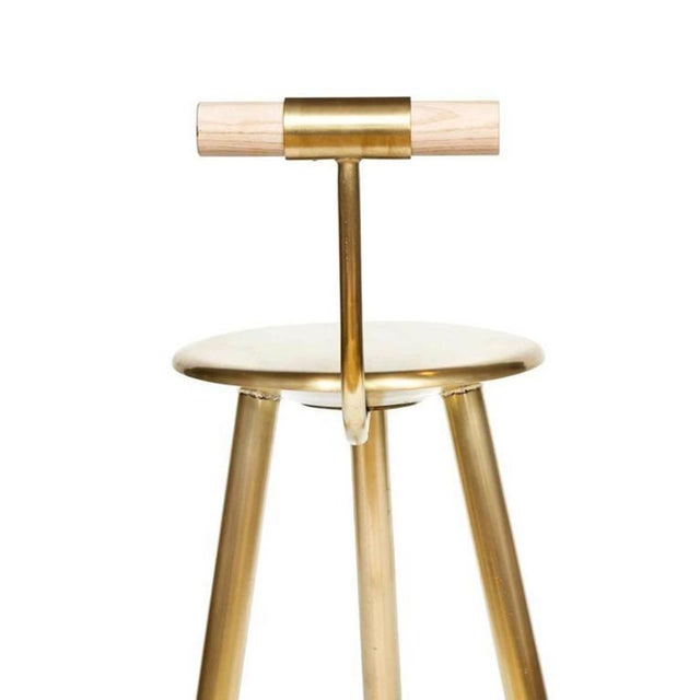 2010s Customizable Set of 4 Erickson Aesthetics Brass Stool For Sale - Image 5 of 6