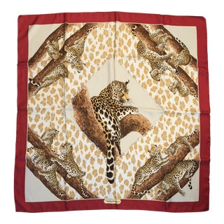 Salvatore Ferragamo Jaguar Silk Scarf For Sale