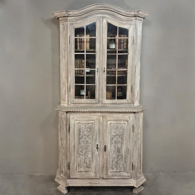 19th Century Country French Louis XVI Stripped Bookcase ~ Vitrine makes the perfect display piece for your library or...
