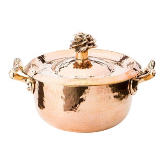 "Amoretti Brothers Handmade 2.8 Qt Cocotte with ""Flower"" Lid For Sale"