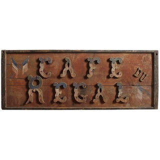 "Late 19th C. Vintage French Hand-Painted ""Cafe Du Regal"" Wooden Sign For Sale"
