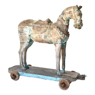 19th Century Large Indian Wood Temple Horse For Sale