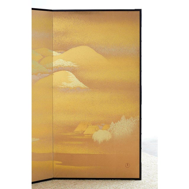 Japanese Two-Panel Gold Leaf Screen by Yoshikawa For Sale - Image 9 of 13