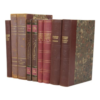 Vintage Leather-Bound Books - Set of 9