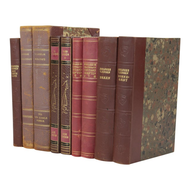 Vintage Leather-Bound Books - Set of 9 - Image 1 of 3